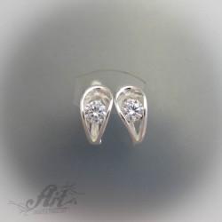 Сребърни обеци с цирконий - Е-141