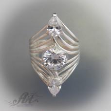Сребърен дамски пръстен с цирконий R-377