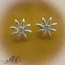 Сребърни обеци с цирконий - E-031