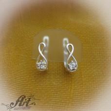 Сребърни обеци с цирконий - E-161