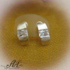 Сребърни обеци с цирконий - E-222