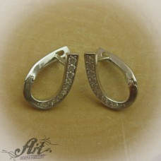 Сребърни обеци с цирконий - E-413