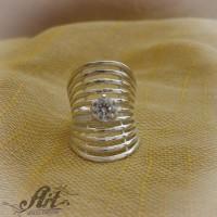 Сребърен дамски пръстен с цирконий R-372