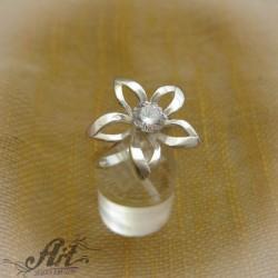 """Сребърен дамски пръстен с цирконий """" Цвете"""" R-380"""