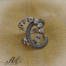 """Сребърен дамски пръстен с цирконий """" Шанел"""" R-007"""