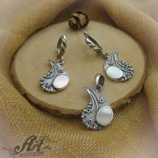 Дамски сребърен комплект с естествени камъни S-194