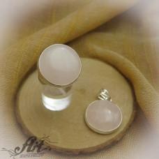 """Дамски сребърен комплект с естествен камък """"Розов кварц"""""""