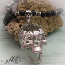 """Мъжка броеница с естествени камъни """" Череп"""" PS-034"""