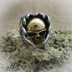 """Мъжки стоманен пръстен """" Череп """"  RS-024"""