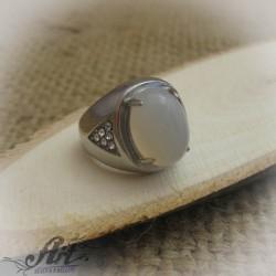 Мъжки стоманен пръстен с опал RS-031