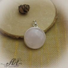 """Сребърен медальон с естествен камък """" Розов кварц"""" P-499"""