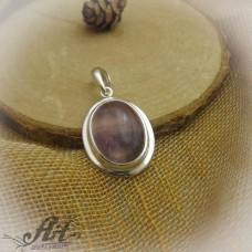 "Сребърен медальон с естествен камък "" Аметист "" P-505"