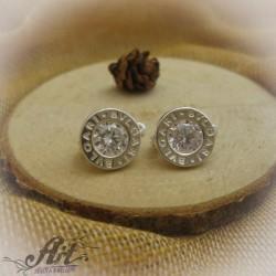 Сребърни обеци с цирконий - E-458