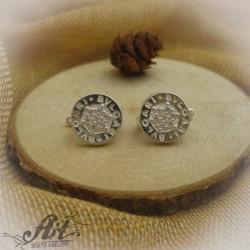 Сребърни обеци с цирконий на Bvlgari - E-221
