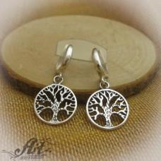 """Сребърни обеци """" Дървото на живота"""" E-693"""