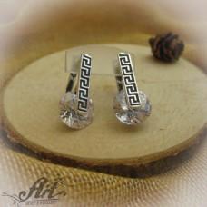 Сребърни обеци с цирконий - E-142