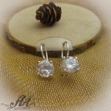 Сребърни обеци с цирконий - E-649