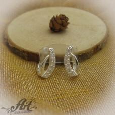 Сребърни обеци с цирконий - E-650
