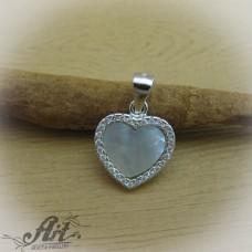 """Сребърен медальон с цирконий """" Сърце""""  P-601"""
