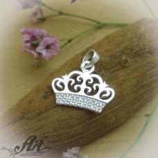 "Сребърен медальон с цирконий "" Корона""  P-611"