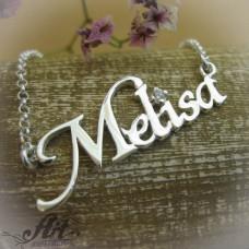 """Сребърно колие с име """" Melisa"""" N-162"""