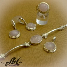 Дамски сребърен комплект с розов кварц S-243