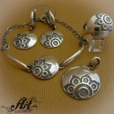 """Дамски сребърен комплект """"Цвете"""" S-236"""