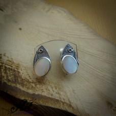 Сребърни обеци с бял седеф - E-738