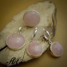 Дамски сребърен комплект с  розов кварц S-245