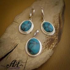 """Дамски сребърен комплект с естествен камък """" Тюркоаз"""" S-248"""