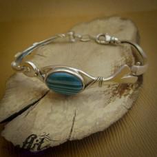 Сребърна  гривна с естествен камък ахат B-292
