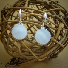 Сребърни обеци с бял седеф - E-742