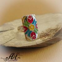 """Сребърен пръстен с емайл """" Шевица"""" R-643"""