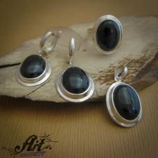 """Дамски сребърен комплект с естественн камък """" Оникс"""" S-247"""