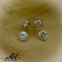 Сребърни обеци с цирконий -  E-808