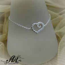 """Сребърна гривна с цирконий """" Сърце """" B-308"""