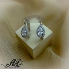 Сребърни обеци с цирконий  -  E-830