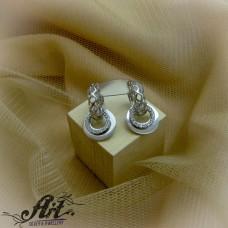 Сребърни обеци с цирконий  -  E-832