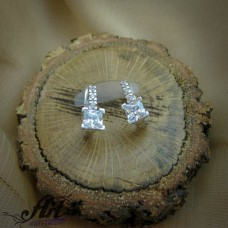 Сребърни обеци с цирконий  -  E-01013