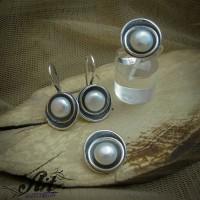 Дамски сребърен комплект с перли S-0254