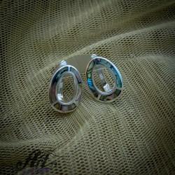 Сребърни обеци с цветен седеф - E-864