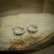 Сребърни обеци с цветен седеф - E-0875