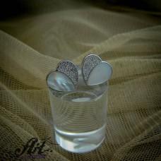 Сребърни обеци с бял седеф - E-859