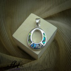 Сребърен медальон с цветен седеф  P-0319