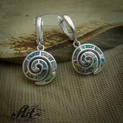 Сребърни обеци с цветен седеф - E-865
