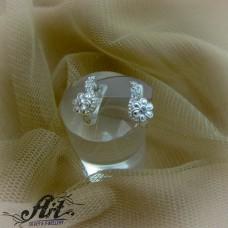 Сребърни обеци с цирконий  -  E-818