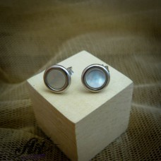 Сребърни обеци с бял седеф - E-861
