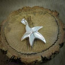 Сребърен медальон с бял седеф  P-0317