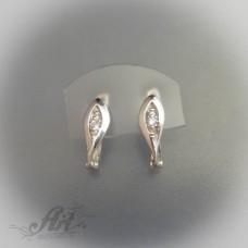 Сребърни обеци с цирконий - E-216
