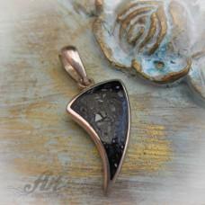 Сребърен медальон с естествен камък. P-078